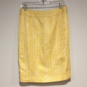 Banana Republic yellow & white pencil skirt Sz 6